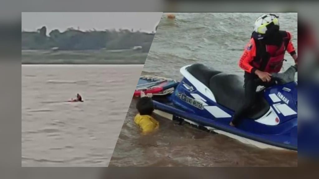 กู้ภัยนครพนม ขี่เจ็ตสกีฝ่าพายุลมแรงช่วยชาวบ้านเรือล่มกลางลำน้ำโขง รอด 2 ดับ 1 ราย (ชมคลิป)