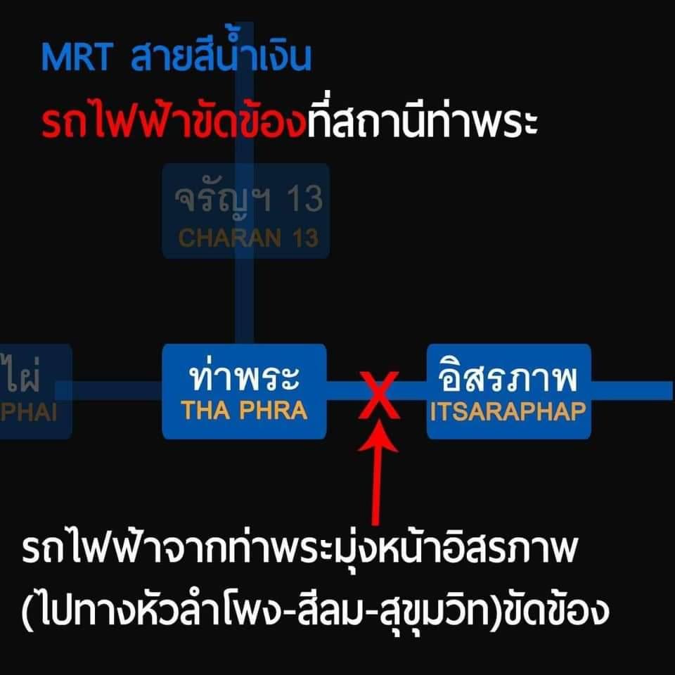 MRT ขัดข้อง! พบสิ่งแปลกปลอมบนราง ช่วงท่าพระ -อิสระภาพ