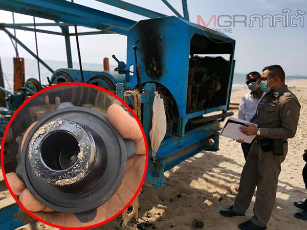 คนร้ายลอบนเททรายใส่ห้องเครื่องปั้นจั่นตอกเสาเข็มในโครงการสร้างเขื่อนกั้นตลิ่งชายหาดม่วงงาม