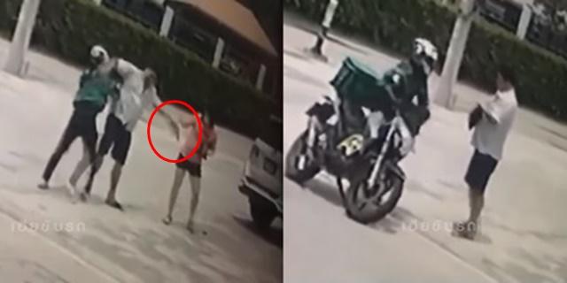 หนุ่มแกร็บฟู้ดวิวาทหนุ่มใหญ่ เจอถือปืนขู่กระโดดเข้าใส่ เหตุจากขับรถปาดหน้า