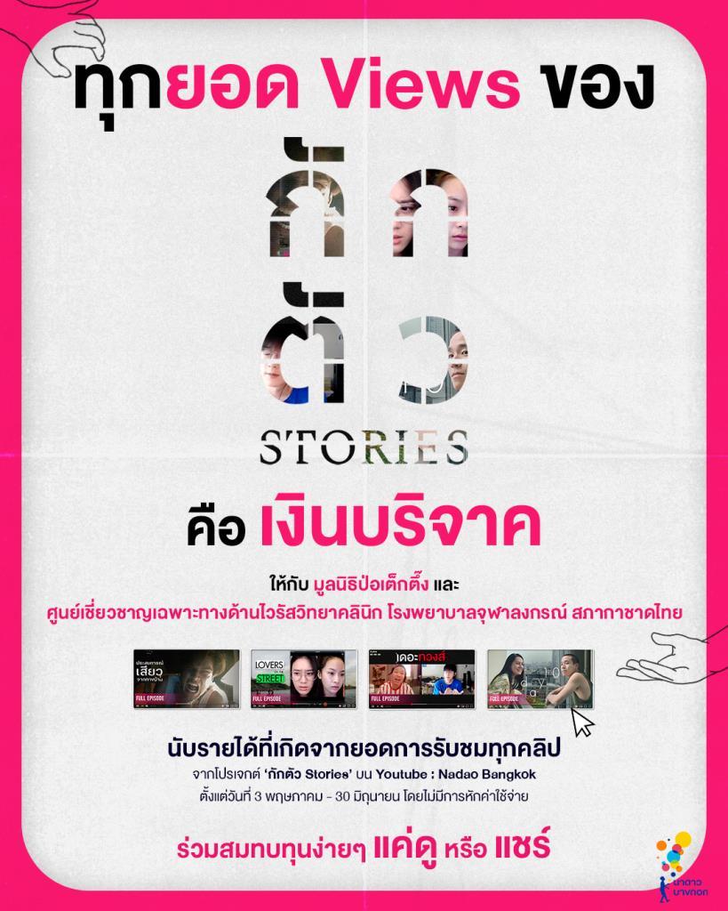 """""""กักตัว Stories"""" เตรียมนำเงินรายได้จากยอดผู้ชมในยูทูปมอบให้กับ ป่อเต็กตึ๊ง และรพ.จุฬาฯ"""