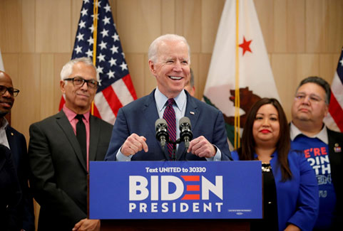 โจ ไบเดน อดีตรองประธานาธิบดีสหรัฐฯ และหนึ่งในผู้สมัครประธานาธิบดีจากพรรคเดโมแครต