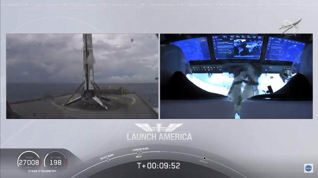 """อีกหนึ่งความสำเร็จของสเปซเอกซ์ (SpaceX) นอกจากนำส่งมนุษย์ทะยานฟ้าสำเร็จแล้ว จรวดฟอลคอน 9 (Falcon 9) ที่นำส่งแคปซูลดรากอน (Dragon) ก็ลงจอดบนฐานจอดในมหาสมุทรแอตแลนติกได้สำเร็จ ภารกิจครั้งนี้เรียกกันว่า """"ภารกิจเดโม 2"""" (Demo-2) ซึ่งเป็นเที่ยวทดสอบเที่ยวสุดท้ายก่อนที่องค์การบริหารการบินอวกาศสหรัฐฯ จะรับรองสเปซเอกซ์ในภารกิจขนส่งลูกเรือต่อไป (AFP / NASA TV)"""
