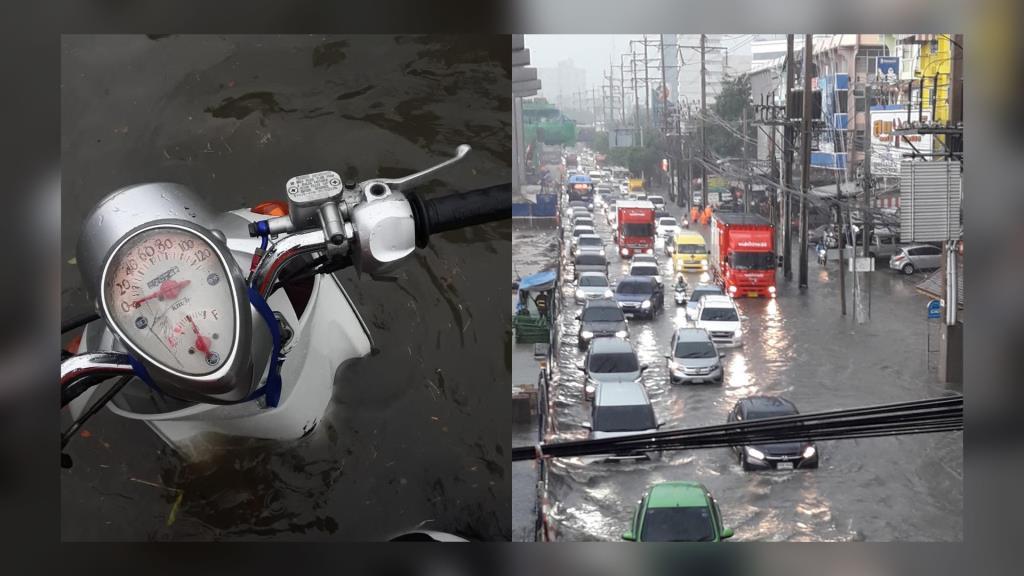 ชาวเน็ตแชร์ภาพ ฝนถล่ม! แจ้งวัฒนะ น้ำท่วมขังซ้ำซากรถติดยาว
