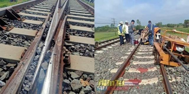 สุดพิเรนท์! จนท.การรถไฟ เผยภาพมือดีนำหินไปวางในร่องบังใบ หวั่นก่อให้เกิดอุบัติเหตุได้