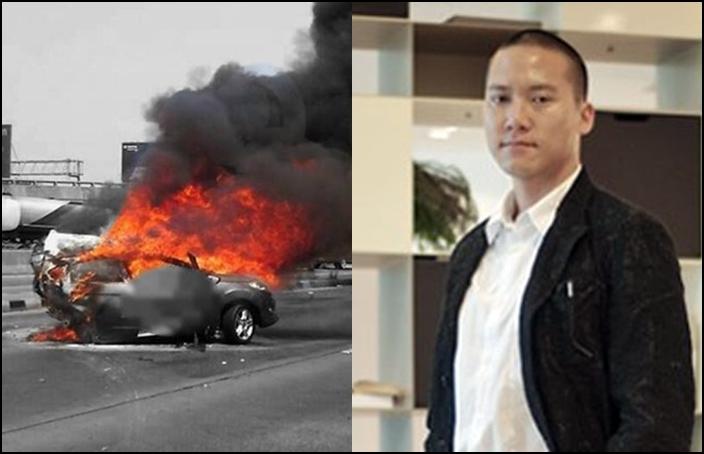 (ขวา) นายเจนภพ วีรพร หรือเสี่ยเจนภพ นักธุรกิจชื่อดัง (ซ้าย) รถของผู้เสียชีวิต
