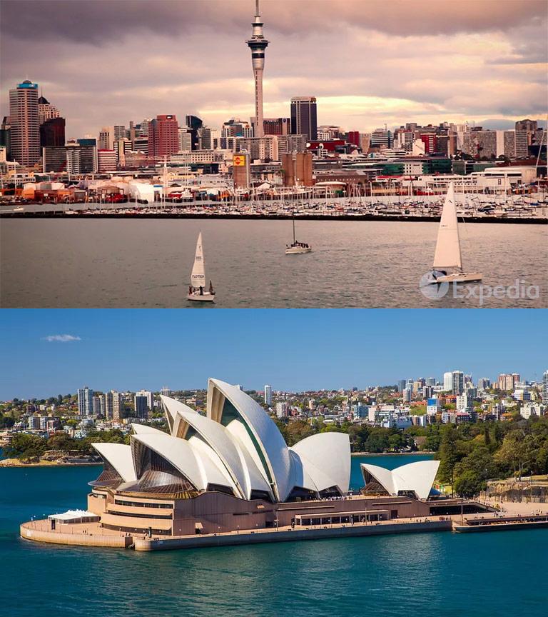 นิวซีแลนด์ (บน)-ออสเตรเลีย (ล่าง) ต้นแบบของทราเวลบับเบิ้ล (ภาพ : expedia)