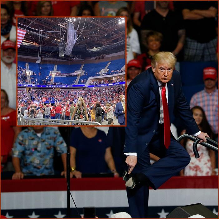 """In Clip: สุดกร่อย!! """"ทรัมป์"""" หาเสียงครั้งแรก มีคนแค่ครึ่งสนามกีฬาเข้าฟัง เนชันแนลการ์ดถือปืนคุมเข้ม แบล็กไลฟ์แมทเทอร์ประท้วง"""