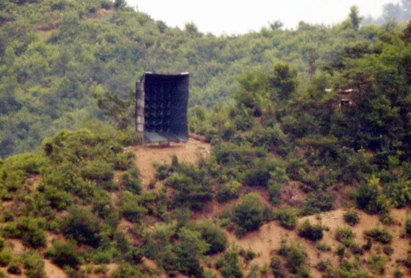 ลำโพงยักษ์ที่เกาหลีเหนือนำไปติดตั้งไว้ใกล้ๆ กับเขตปลอดทหารชายแดน