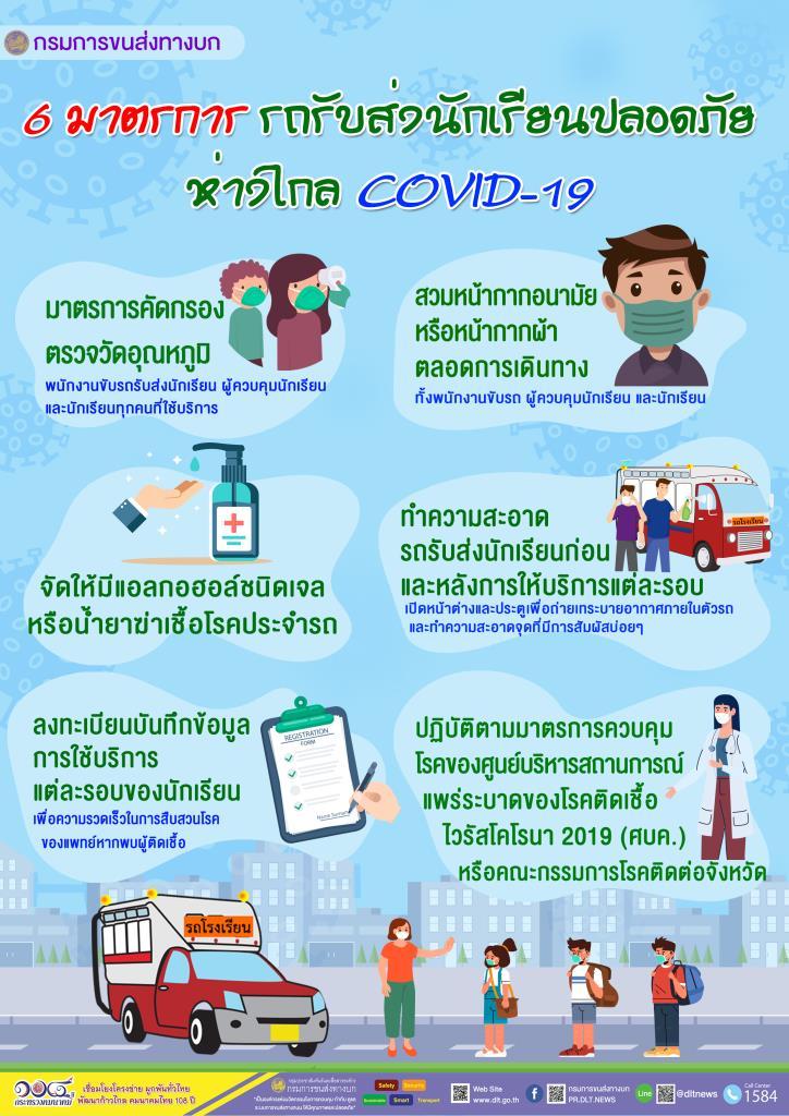ขนส่งทางบก แนะ 6 มาตรการรถรับส่งนักเรียนปลอดภัยห่างไกลCOVID