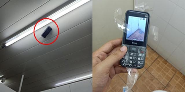 สาวเตือนภัย! เข้าห้องน้ำสาธารณะในปั๊มน้ำมัน เงยหน้าพบโทรศัพท์มือถือแอบถ่ายติดอยู่บนเพดาน