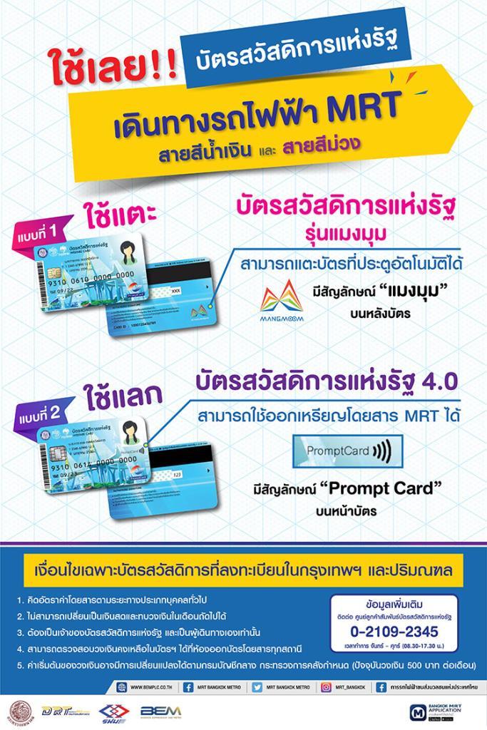 BEM ย้ำ! บัตรสวัสดิการแห่งรัฐ ใช้เดินทางในระบบรถไฟฟ้า MRT ได้
