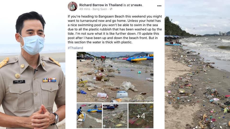 """บางแสนน่าสงสาร! ฝรั่งด่าขยะเต็มหาด """"นายกตุ้ย"""" เซ็งพัดมาจากอ่าวไทย เป็นแบบนี้ทุกปีแก้ไม่ได้"""