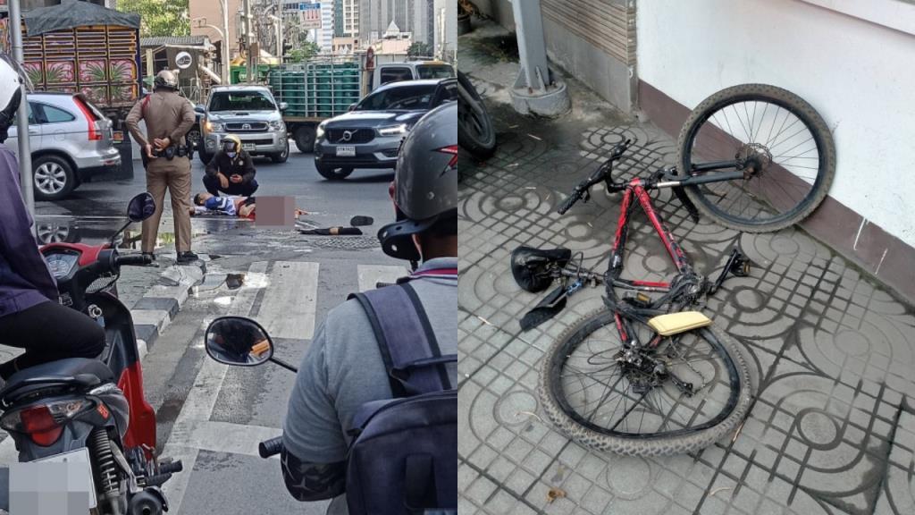 รถบรรทุกชนกับรถจักรยานปั่น แยกอโศก-สุขุมวิท ผู้บาดเจ็บขาขาด 2 ข้าง อาการสาหัส