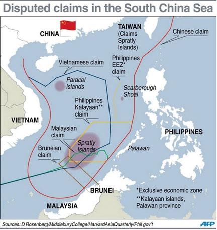 แผนที่ทะเลจีนใต้ที่จีนอ้างสิทธิครอบครอง