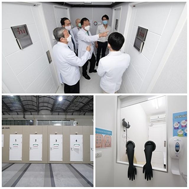 ทีมบุคลากรทางการแพทย์เยี่ยมชมภายในห้องตรวจหาเชื้อ (Modular Swab Unit)