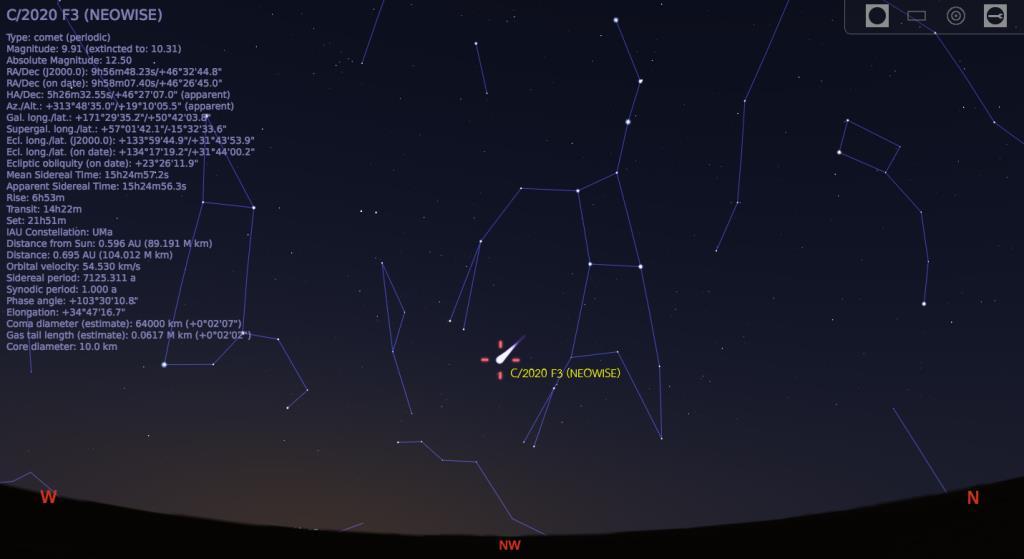 โปรแกรม Stellarium สามารถแสดงตำแหน่งของดาวหางได้ในแต่ละวัน
