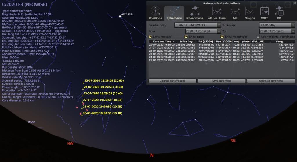 ตัวอย่างการแสดงทิศทางการเคลื่อนที่ของดาวหาง และค่าความสว่าง ในแต่ละวันจากโปรแกรม Stellarium