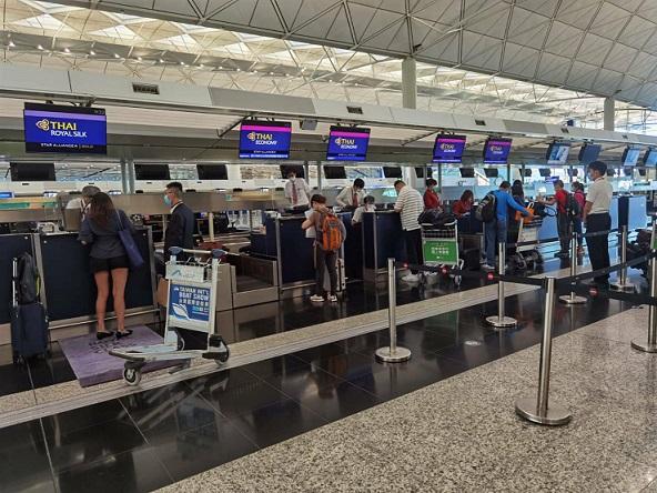 การบินไทยรับ155 คนไทย เดินทางกลับจากฮ่องกงถึงสุวรรณภูมิ เมื่อ 23 ก.ค.