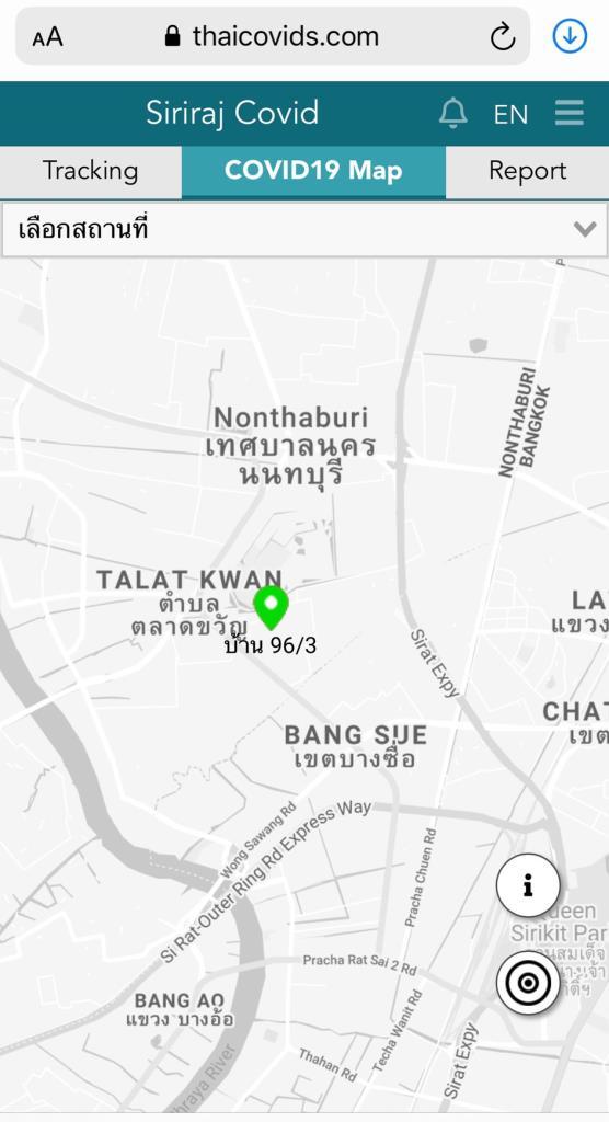 ภาพการแสดงผล COVID19 map