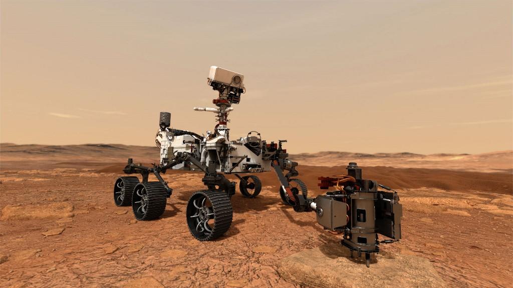 ภาพจำลองของยานโรเวอร์เพอร์เซเวียแรนซ์ (Handout / NASA/JPL-CALTECH / AFP)