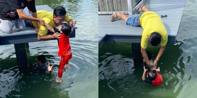 ชื่นชม! หนุ่มมีสติโดดน้ำช่วยเด็กตกบ่อขึ้นมาอย่างปลอดภัย ชาวเน็ตยกให้เป็นฮีโร่