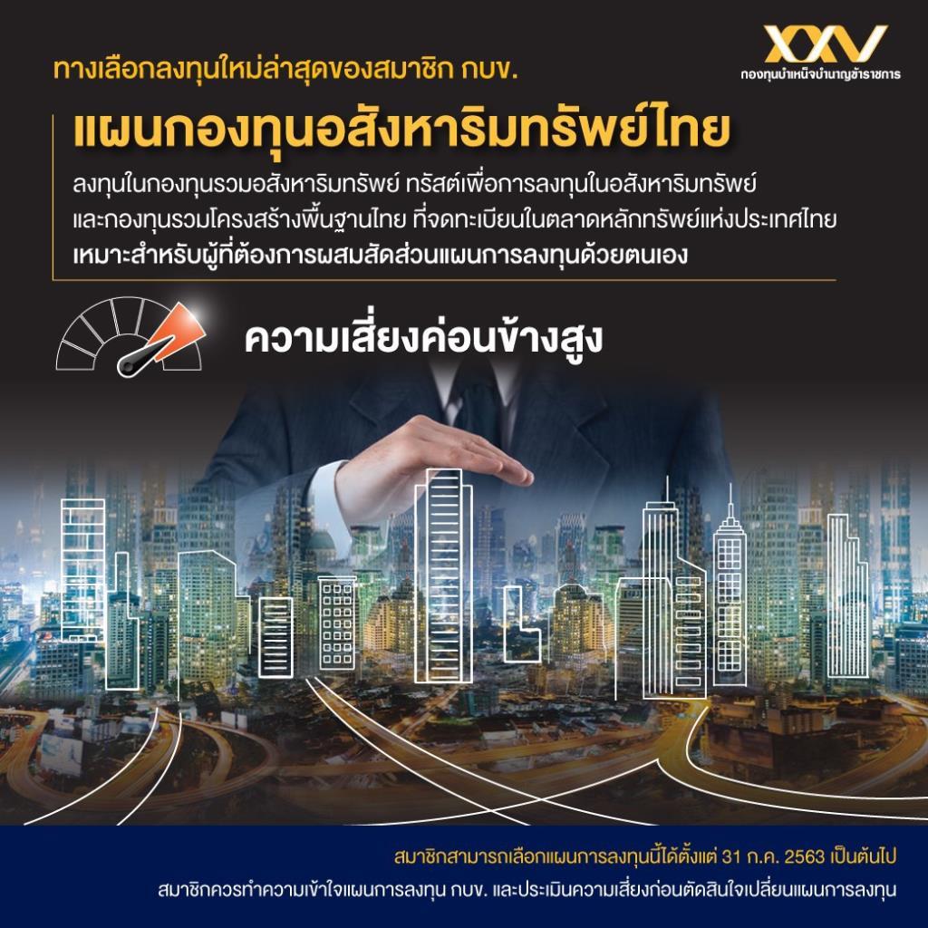 กบข. เพิ่มทางเลือกการลงทุน ด้วยแผนกองทุนอสังหาริมทรัพย์ไทย เริ่มให้บริการ 31 ก.ค.