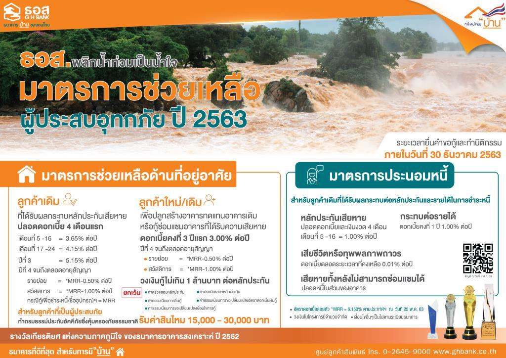 """ธอส.ออก7 มาตรการช่วยผู้ประสบอุทกภัยจากพายุ""""ซินลากู"""""""