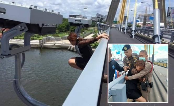 ระทึก! สาวชุดดำพยายามกระโดดสะพานพระราม 8 ผกก.191 เกลี้ยกล่อมช่วยไว้ได้ปลอดภัย