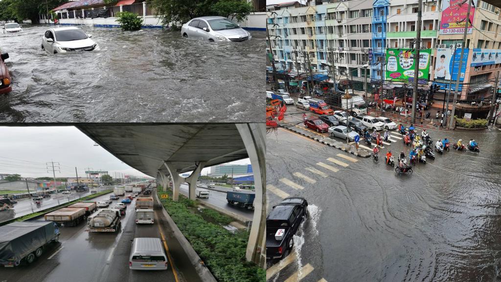 สมุทรปราการอ่วมอีกวัน! ฝนตกหนัก ถ.สุขุมวิท-แยกปู่เจ้าฯ-เทพารักษ์-บางพลี น้ำท่วมสูง รถติดสะสม