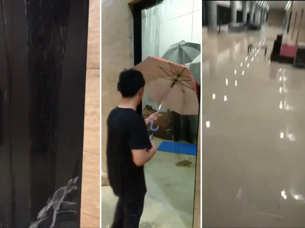 ฝนตกหนัก! สภาฯ ไม่รอด เกิดน้ำท่วมภายในอาคารรัฐสภาใหม่ (ชมคลิป)