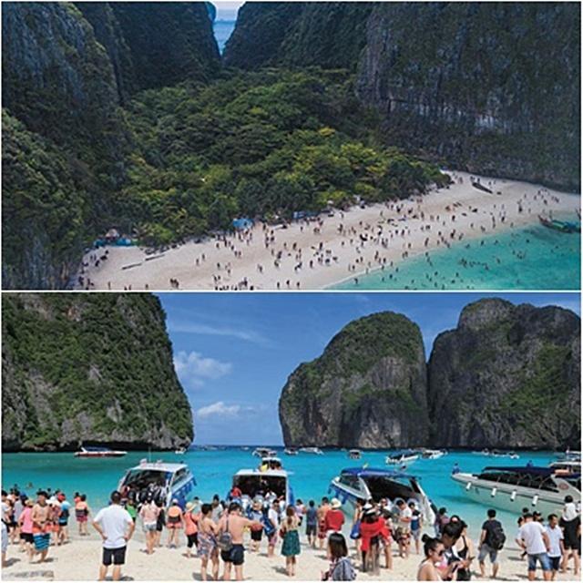 สวรรค์อันดามันวันวาน ธรรมชาติแห่งนี้หนาแน่นไปด้วยเรือท่องเที่ยวและนักท่องเที่ยว ทำให้สภาพธรรมชาติเสื่อมโทรม ชายหาดทรุดตัว