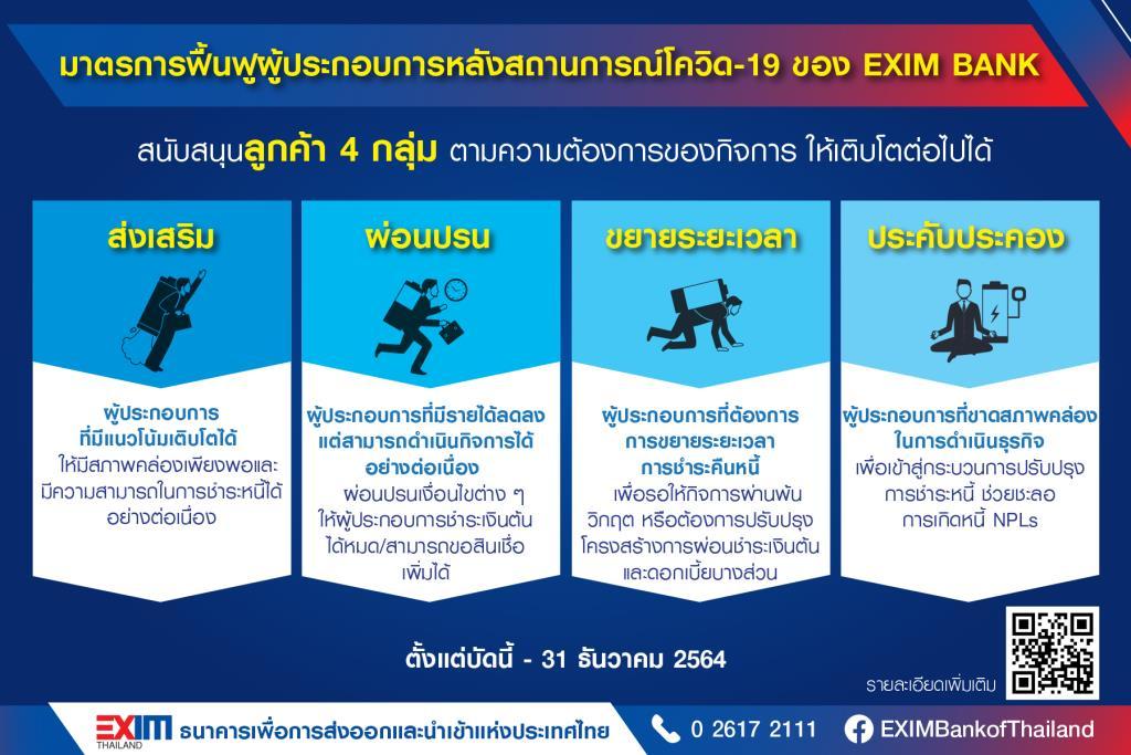 EXIM BANK ออกมาตรการเจาะกลุ่มฟื้นฟูกิจการลูกค้า
