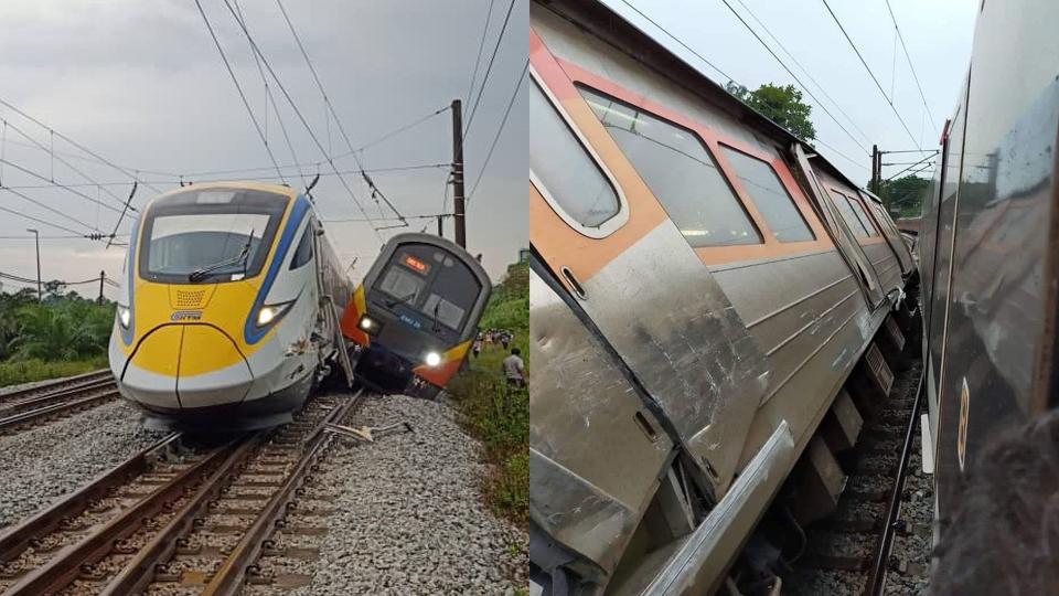 รถไฟชนกันที่มาเลเซีย ETS จากปาดังเบซาร์ ปะทะรถไฟชานเมือง บาดเจ็บ 1 ราย