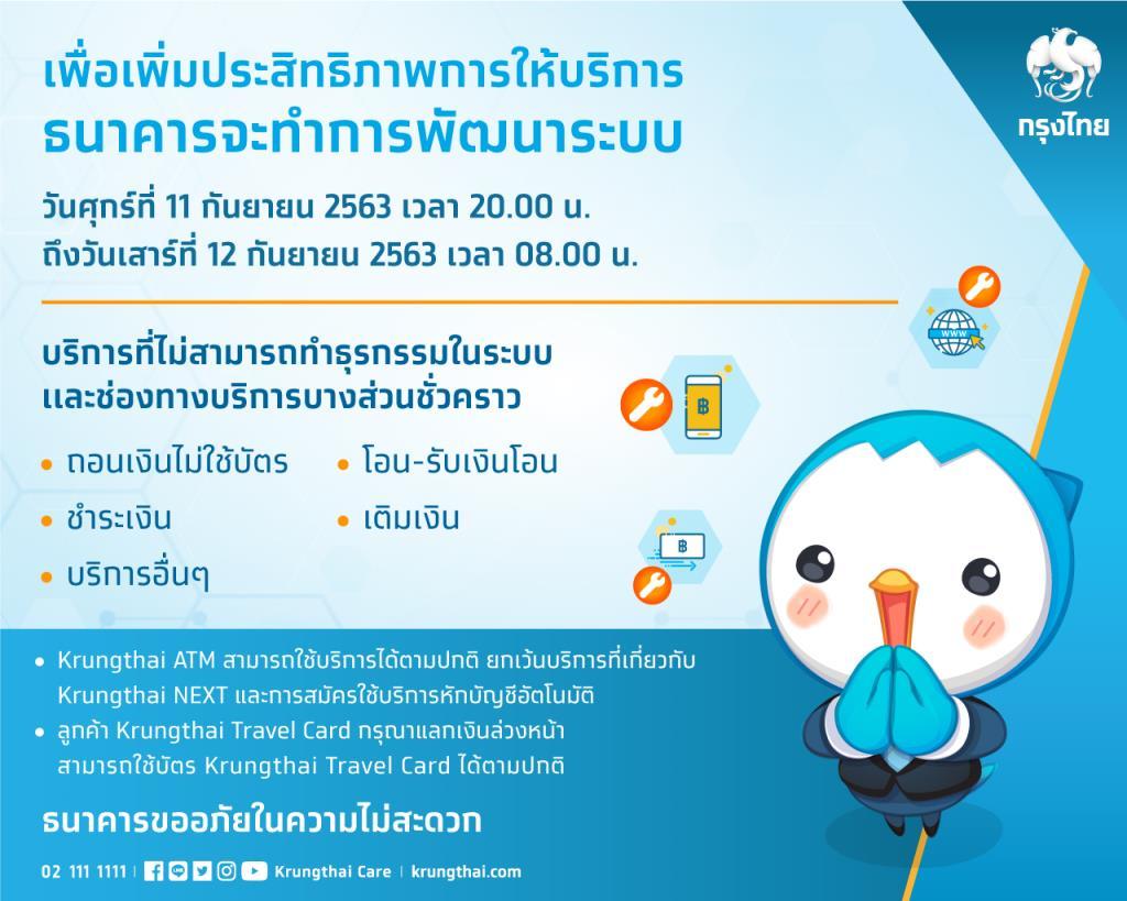 กรุงไทยแจ้งปิดบางบริการชั่วคราวพัฒนาระบบอิเล็กทรอนิกส์