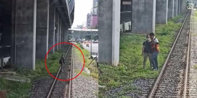 หนุ่มคิดสั้นยืนขวางทางรถไฟ โชคดี จนท. มีสติเบรกได้ทัน ก่อนพลเมืองดีพาตัวออกไปจากจุดอันตราย