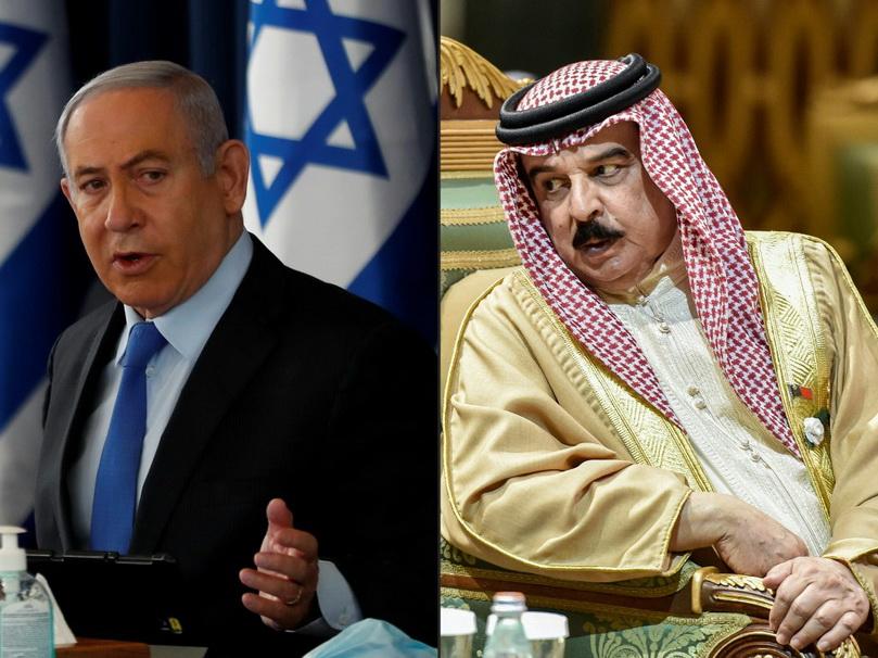 นายกรัฐมนตรี เบนจามิน เนทันยาฮู แห่งอิสราเอล และสมเด็จพระราชาธิบดี ฮามาด บิน อีซา อัล-คาลีฟา แห่งบาห์เรน