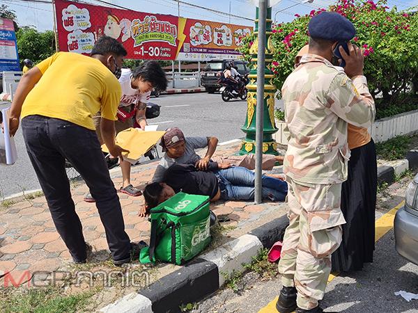 ผัวเมียขับแกร็บเสียหลักพุ่งชนฟุตบาทกลางสะพานข้ามคลองอู่ตะเภาล้มขาหัก