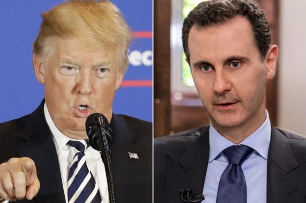 ประธานาธิบดีโดนัลด์ ทรัมป์แห่งสหรัฐฯ (ซ้าย) และบาชาร์ อัล อัสซาด ประธานาธิบดีซีเรีย (ขวา)