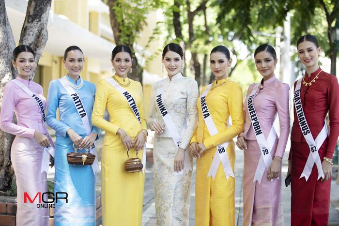 """สวยหยุดโลก """"มิสยูนิเวิร์สไทยแลนด์ 2020"""" สวมชุดไทยไหว้สิ่งศักดิ์สิทธิ์คู่บ้านคู่เมือง"""