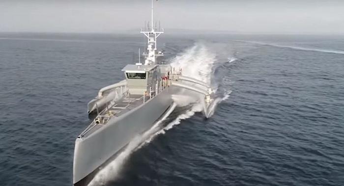 """ภาพโดรนเรือ """"ซี ฮันเตอร์"""" ซึ่งถ่ายจากคลิปวิดีโอที่เผยแพร่โดยกระทรวงกลาโหมสหรัฐฯ"""