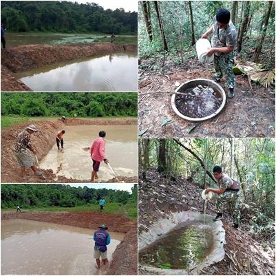 จนท.โครงการจ้างงานประชาชน ปรับปรุงแหล่งน้ำสำหรับสัตว์ป่าช่วงหน้าแล้ง ที่เขตรักษาพันธุ์สัตว์ป่าภูขัด