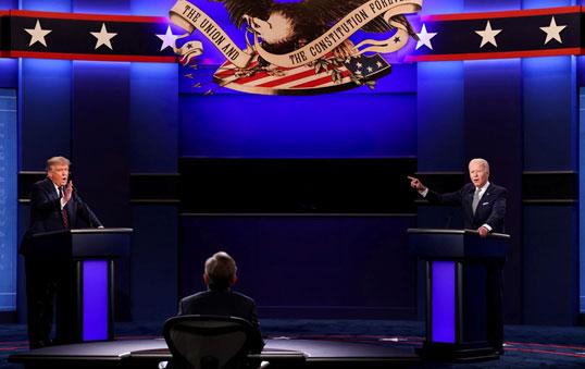 การดีเบตระหว่างประธานาธิบดีโดนัลด์ ทรัมป์ แห่งสหรัฐฯ และอดีตรองประธานาธิบดีโจ ไบเดน  จากพรรคเดโมแครต