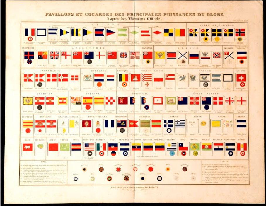 ผังธงโลกพิมพ์ในฝรั่งเศสปี พ.ศ. 2383 ตรงกับสมัยรัชกาลที่ 3 แสดงรูปแบบธงช้างเผือก ธงชาติสยาม (ภาพ: เว็บไซต์พิพิธภัณฑ์ธงชาติไทย artsandculture.google.com/partner/thai-flag-museum)