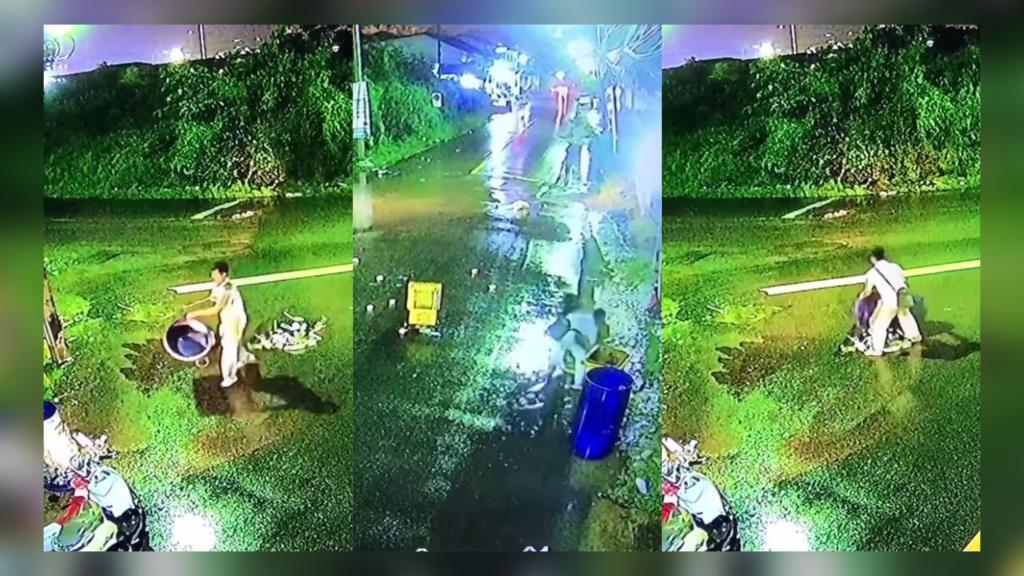 ชื่นชม! ชายคนดีเมืองจัน จอดรถเก็บถังขยะและเศษขยะ ที่ปลิวเพราะลมพายุพัด (ชมคลิป)