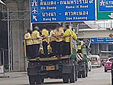 โดนปรับคันละ 1,000 บาท รถบรรทุกขนคนเสื้อเหลืองขึ้นทางด่วน