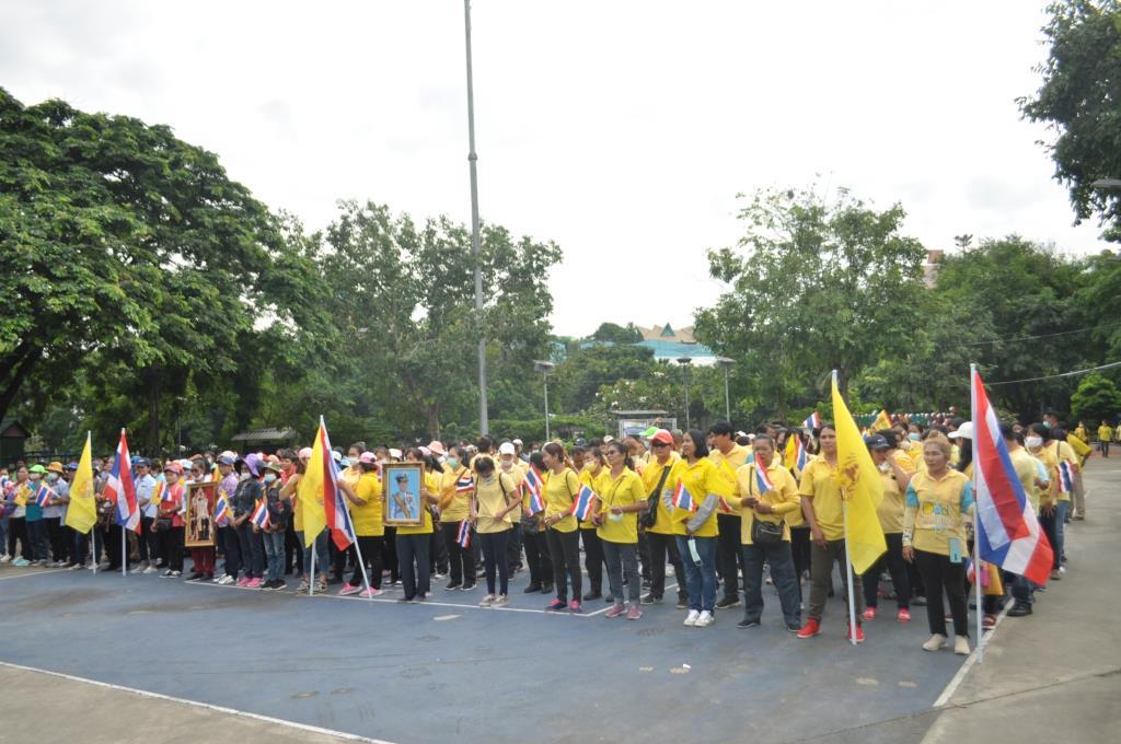 กลุ่มมวลชนนัดใส่เสื้อเหลือง แสดงจุดยืนปกป้องสถาบันฯ ที่สวนเพชรกาญจนารมย์ บางแค