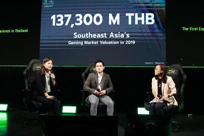 คุณอรนุช เลิศสุวรรณกิจ CEO Techsauce Media และ ดร.ศรุต วานิชพันธุ์ Director, Sea (Thailand) ร่วมเสวนาในหัวข้อ Local Market Opportunity : Esports As A Thai Economic Driver