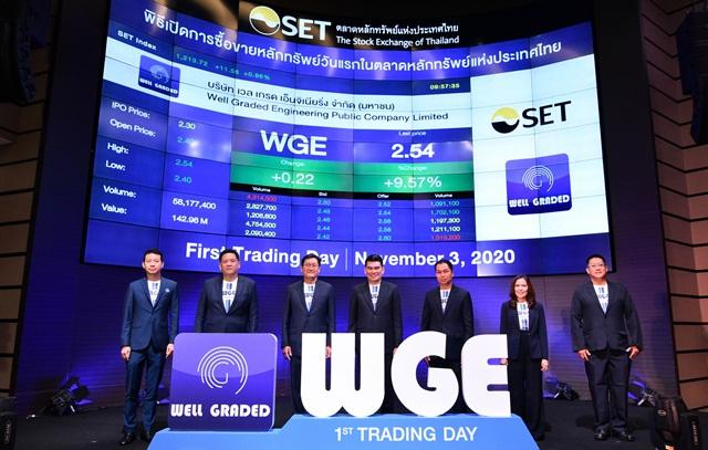WGE เปิดเทรดวันแรก 2.40 บาท และปิดช่วงเช้าที่ 2.38 บาท เพิ่มขึ้น 3.48%