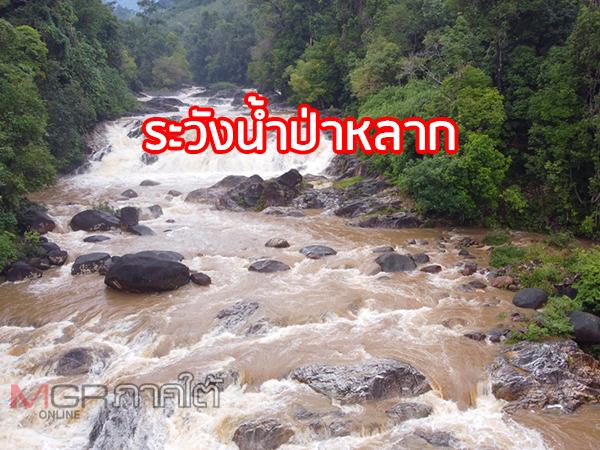 พัทลุงฝนหนักทำน้ำป่าหลากตามน้ำตก จนท.เร่งเฝ้าระวังพร้อมแจ้งเตือนพื้นที่ลุ่มเตรียมรับมือ
